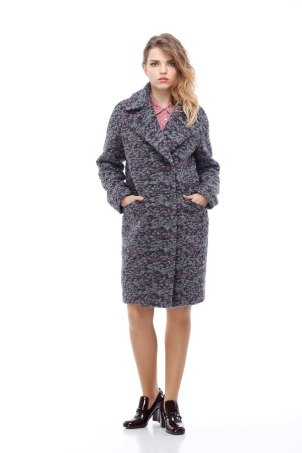 Пальто Лора серо-фиолетовое букле