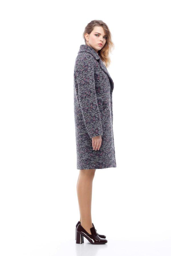 Пальто Лора сіро-фіолетове букле