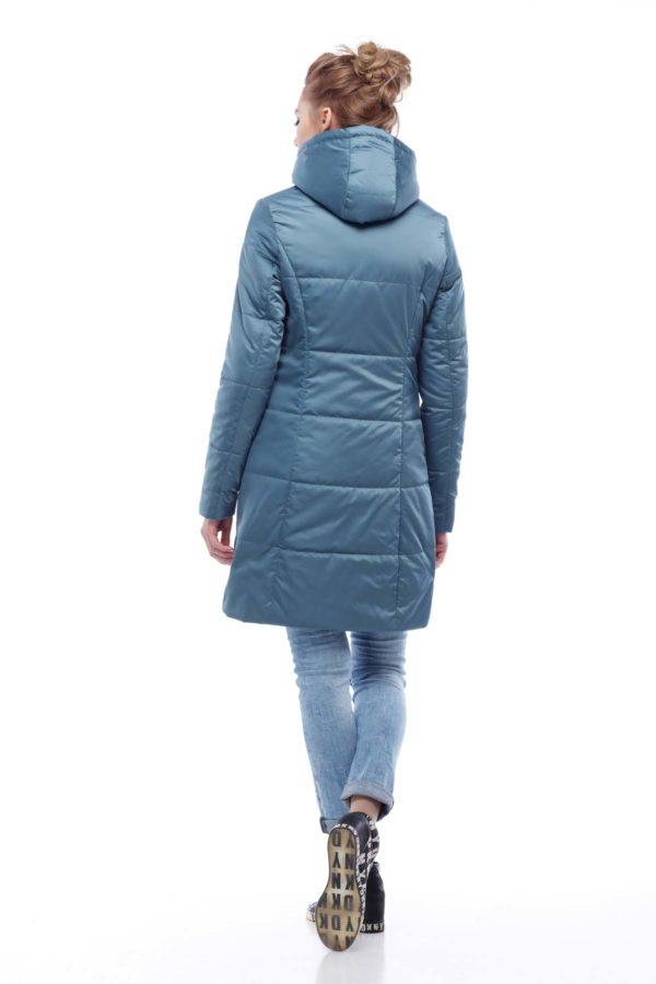 Пальто стьобана Ліка зелений атлас