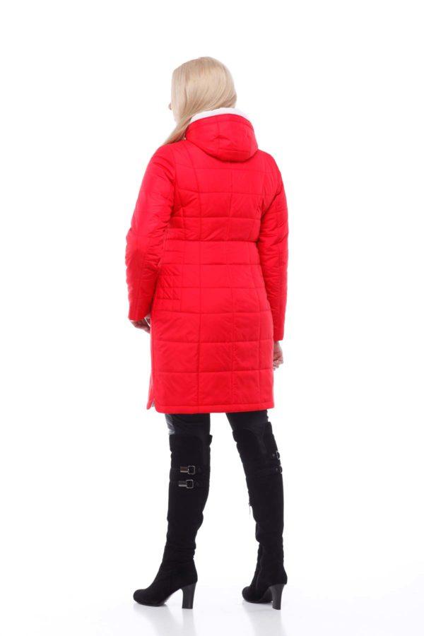 пальто стеганное Альбина Ярко-красный memory oil