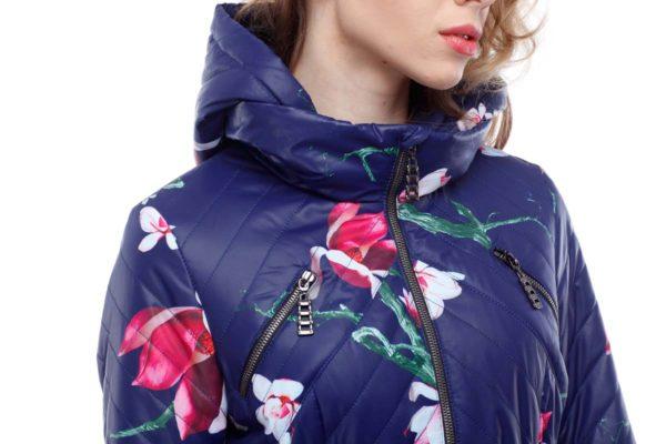 Пальто стьогане Аврора василек принт цветы ammy