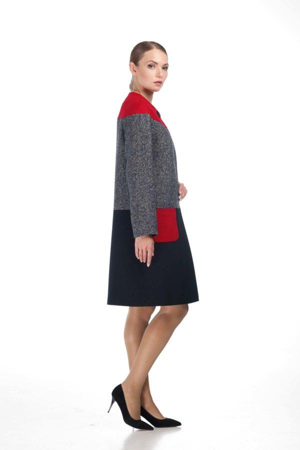 Купить пальто Миранда осень - весна Миранда красная твид темно-синий