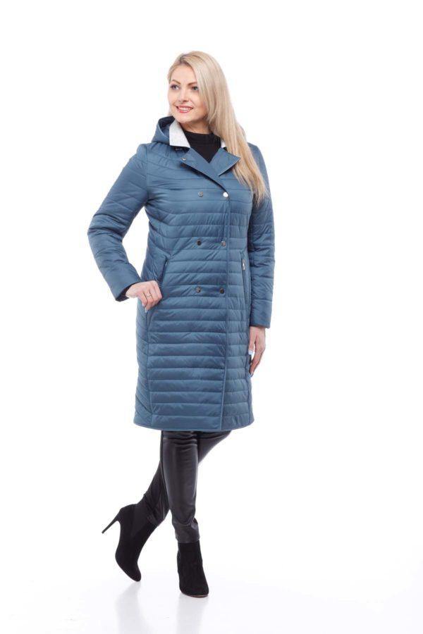Пальто стеганое Ким,серо-синий