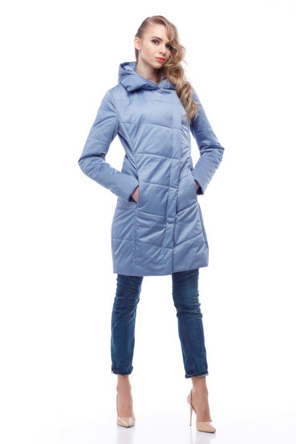 Пальто стеганое Лика голубой лед атлас