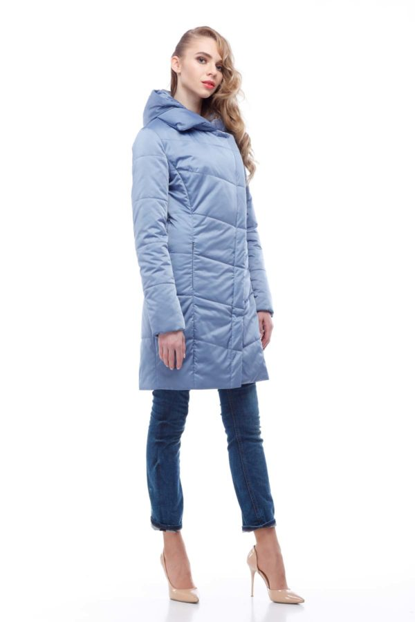 Пальто стьобана Ліка блакитний лід атлас