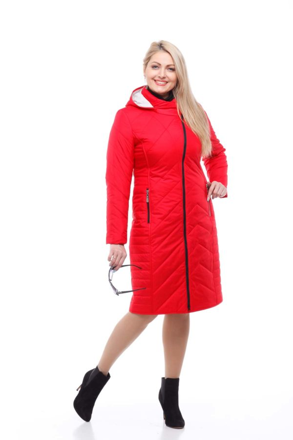 Купить пальто стеганное Мира Ярко-красный пломбир, memory oil