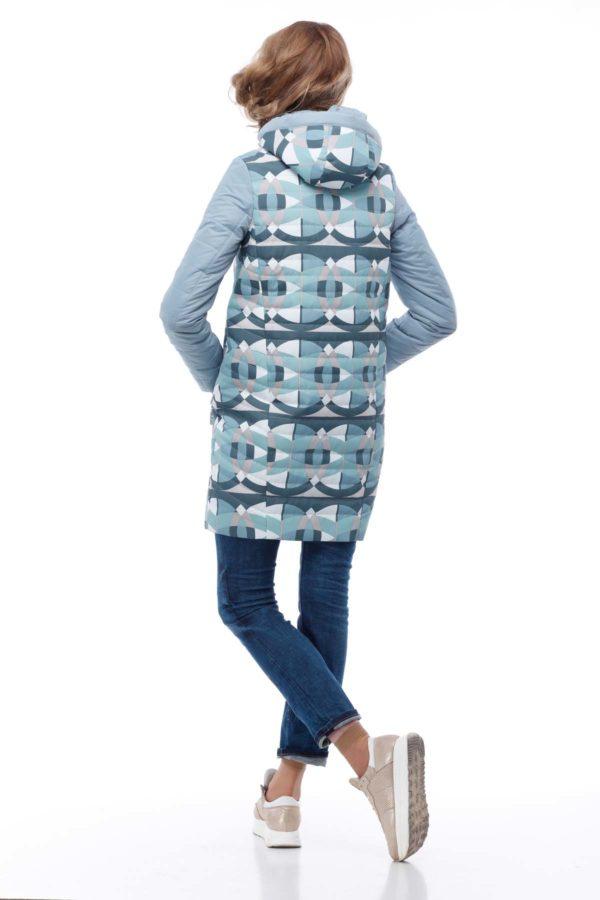 Весенняя Куртка Веста аквамарин принт абстракция ammy