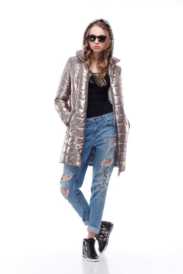 Весенняя Куртка Веста золото фольга плащевка