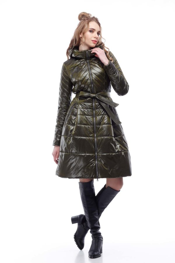 Пальто стеганное Аврора, нейлон, хаки