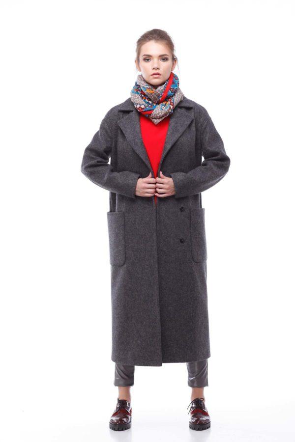 Пальто Кимберли, шерсть Италия темно-серый
