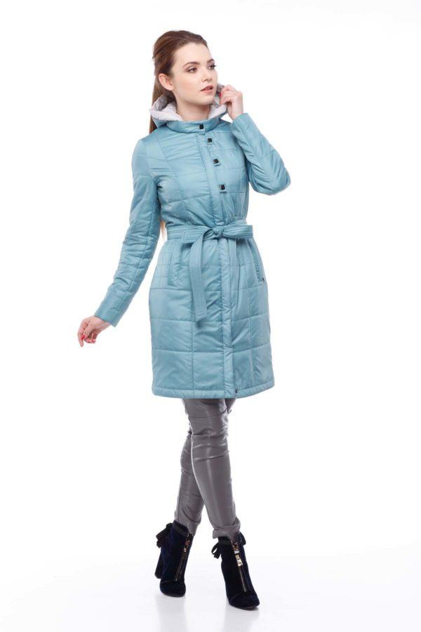 пальто стеганное Аквамарин memory oil