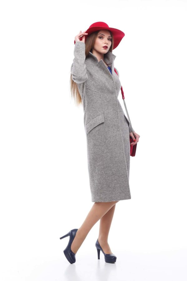 Пальто Віолетта сіро-бежевий меланж