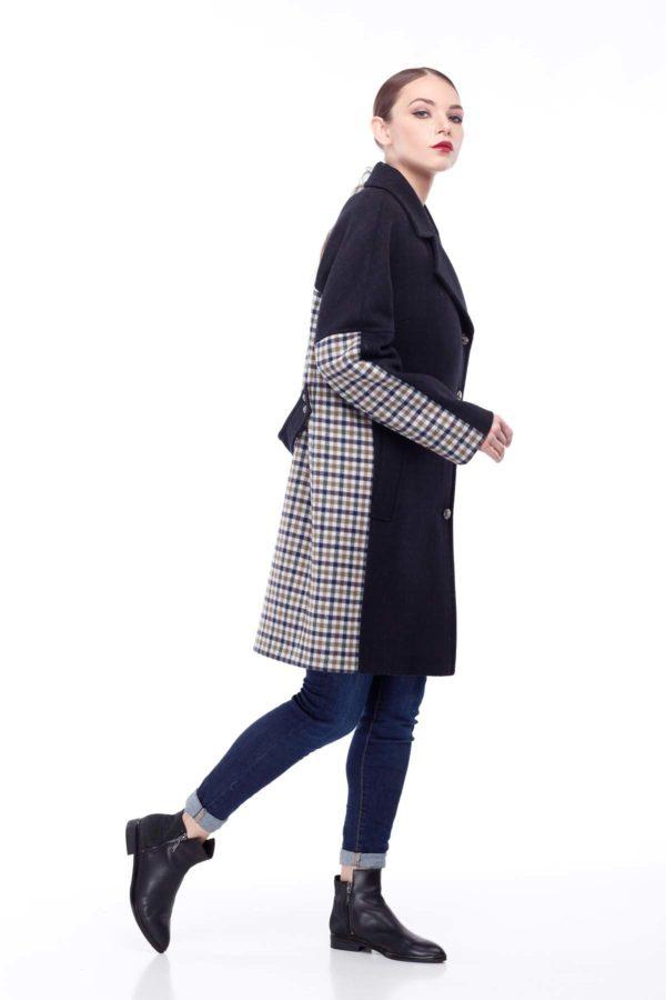 Пальто стеганное Монреаль темно-синий клетка