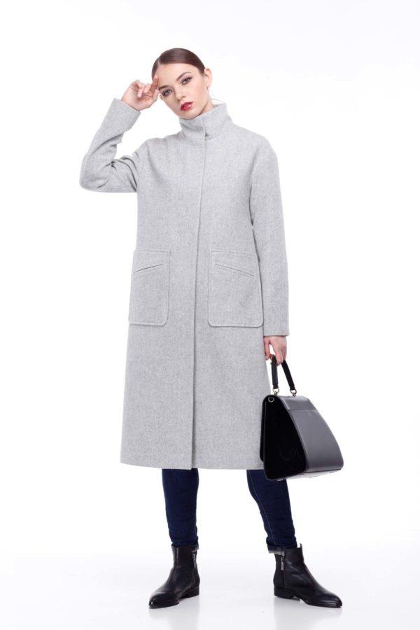 Пальто Ирис, шерсть Италия, серый