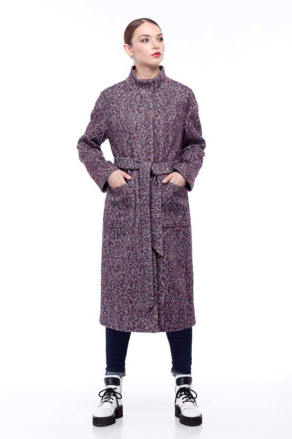 Пальто Ирис бордово-синий твид