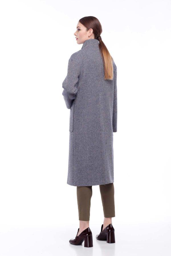 пальто Ирис сине-бежевая диагональ