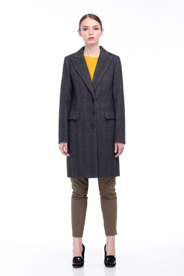 Пальто Ингрид, шерсть Турция темно-серая елочка