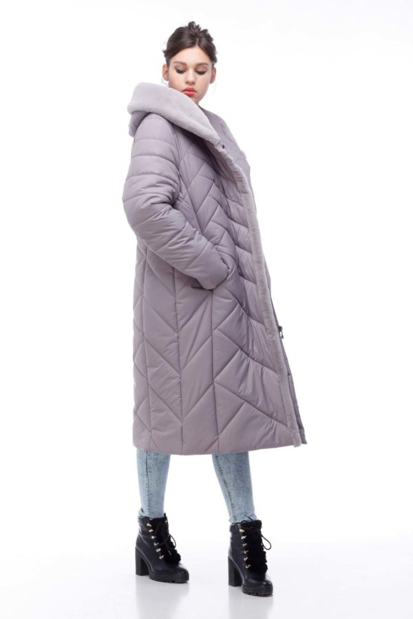 Пальто Сима Зима, кролик пудра