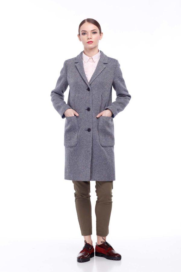 Пальто Виктория, диагональ, сине-бежевая диагональ