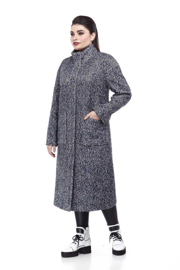 Пальто Ирис сине-бело-черный твид