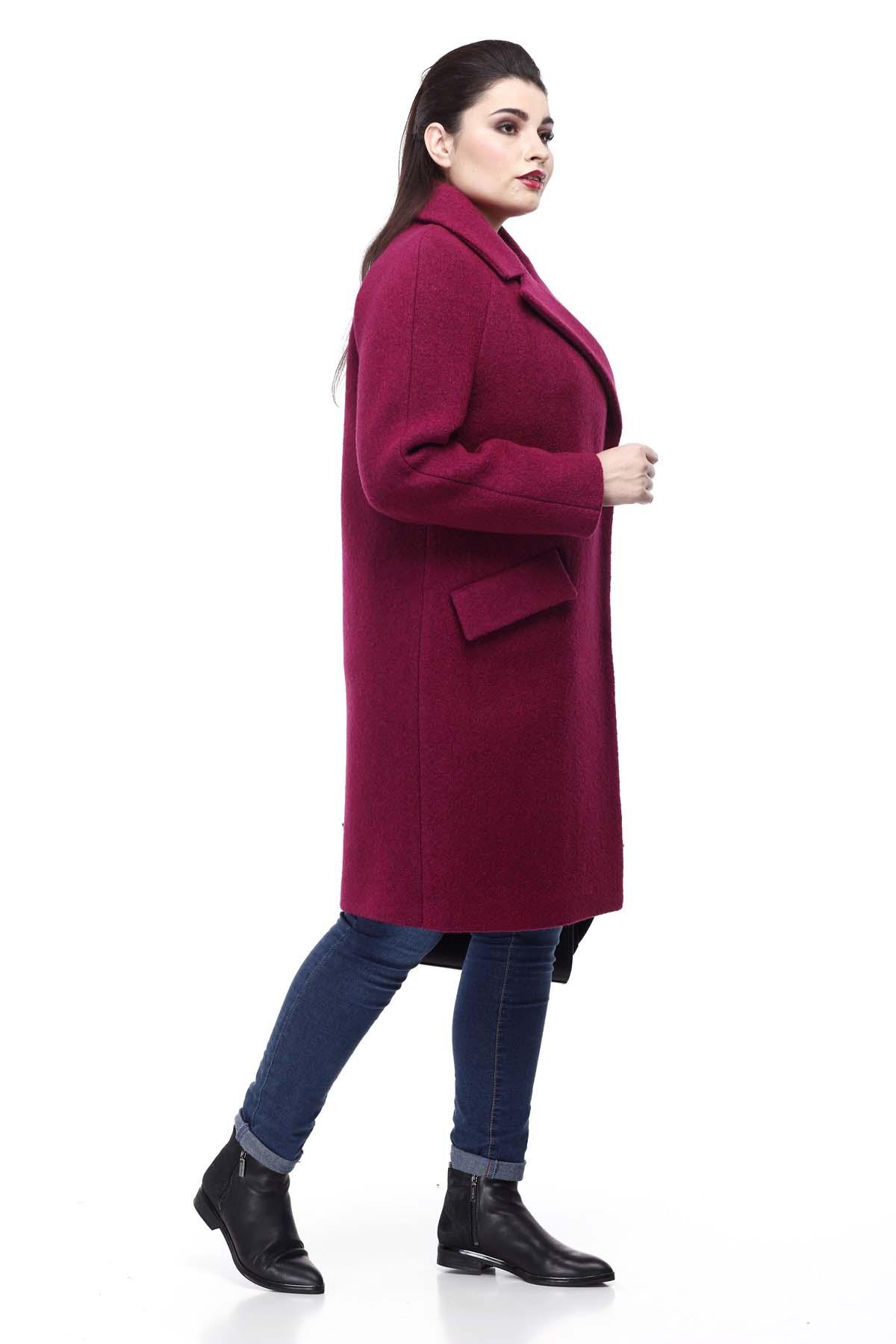Купить пальто большого размера Лора фуксия