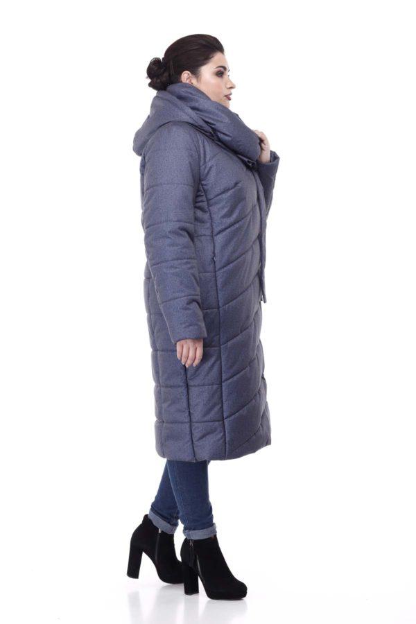 Зимнее пальто стеганое Вероника, флок, джинс