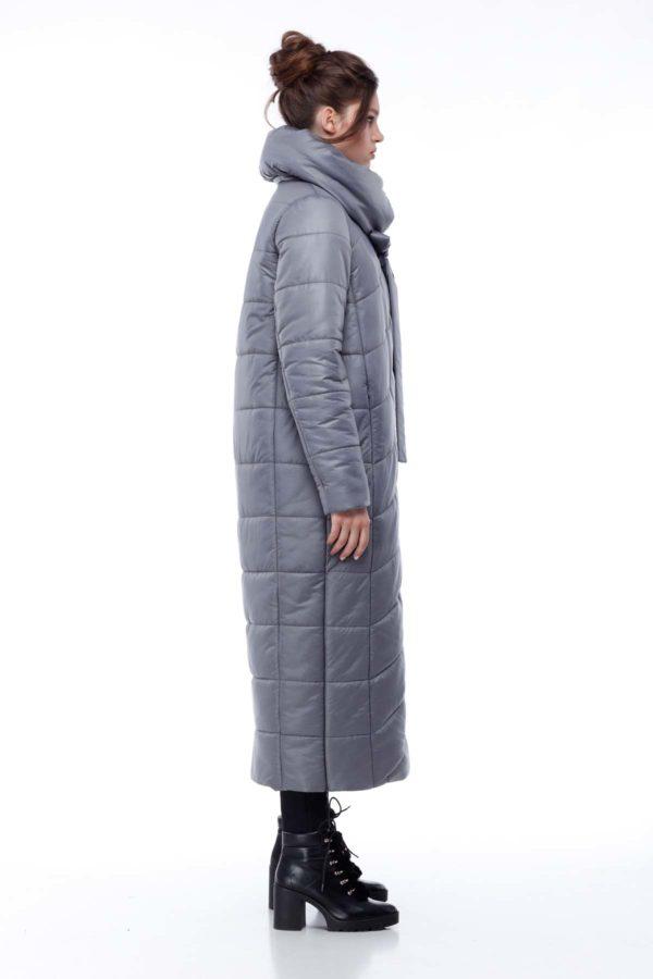Стеганное пальто удлиненное Вероника темно-серый меланж