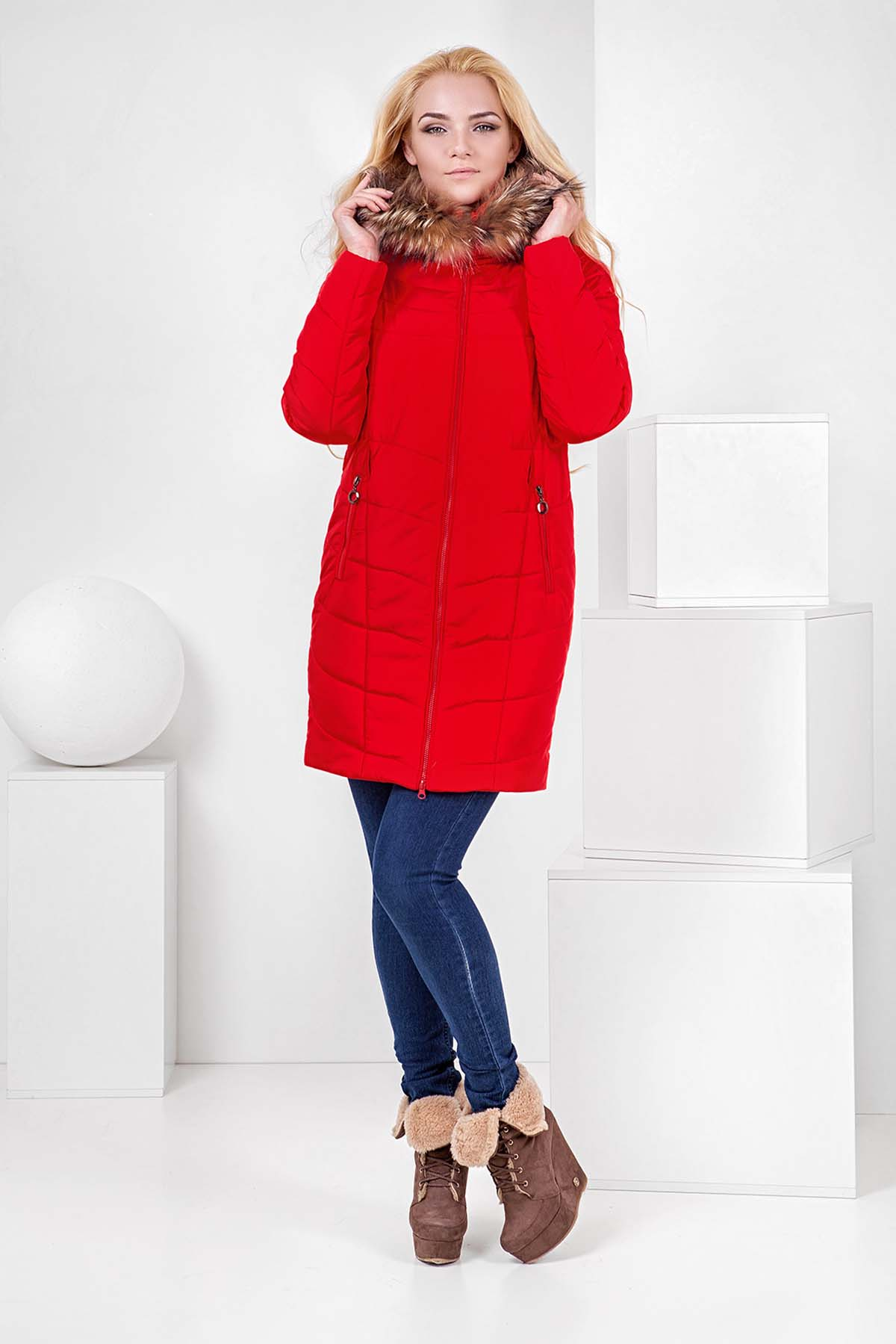 Зимова куртка Арізона, memory oil червоний хутро енота
