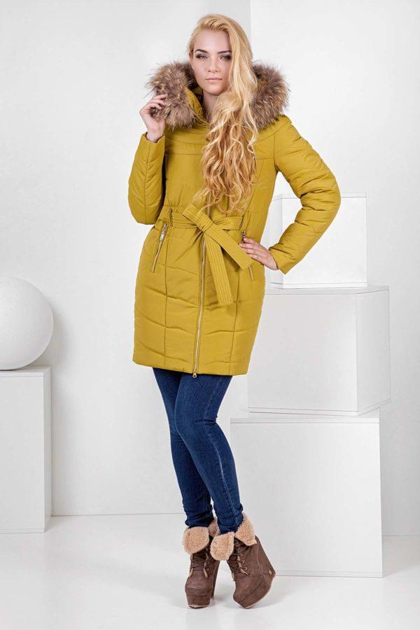 Зимова куртка Арізона, memory oil лайм хутро енота