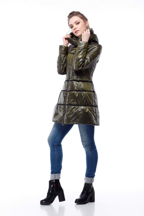 Пальто стеганое Василиса, нейлон, хаки