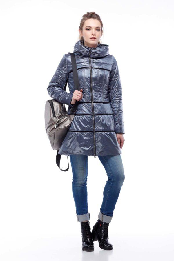 Пальто стеганое Василиса, нейлон, серо-синий