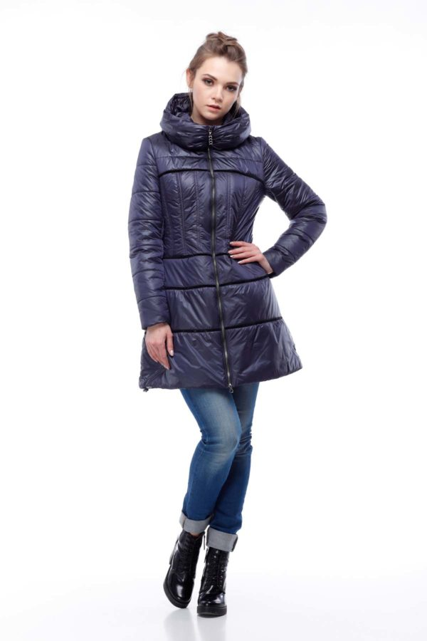Пальто стеганое Василиса, нейлон, темно-синий