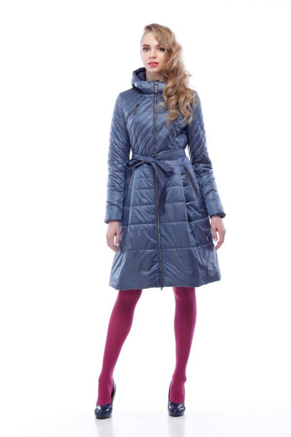 Пальто Аврора серо-голубой нейлон