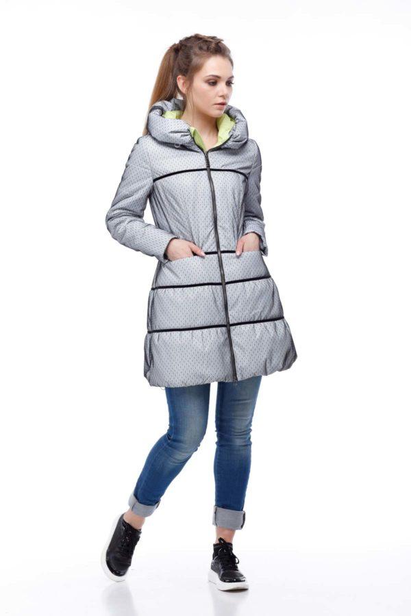Пальто стеганое Василиса, сетка на плащевке, серый, лимон