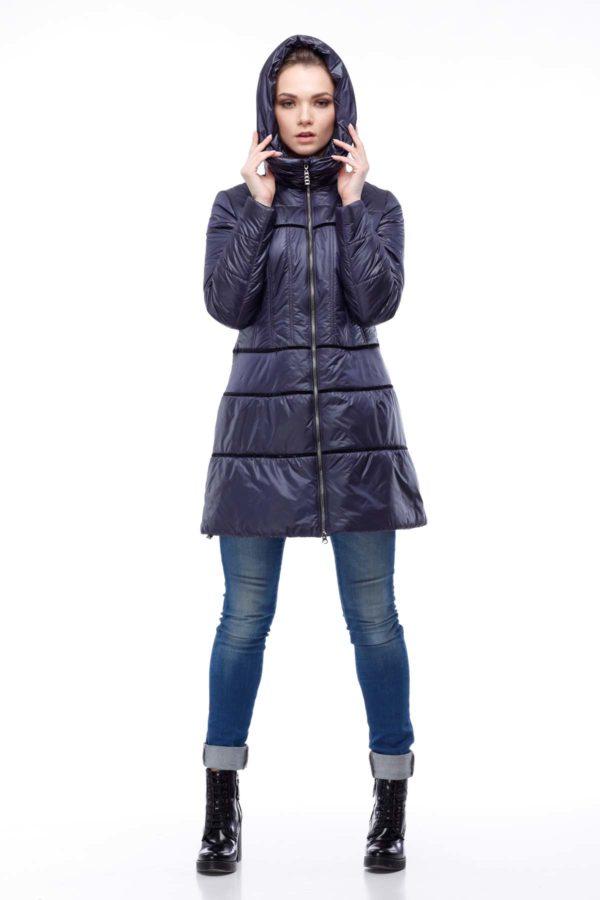 Пальто стьогане Василиса, нейлон темно-синій