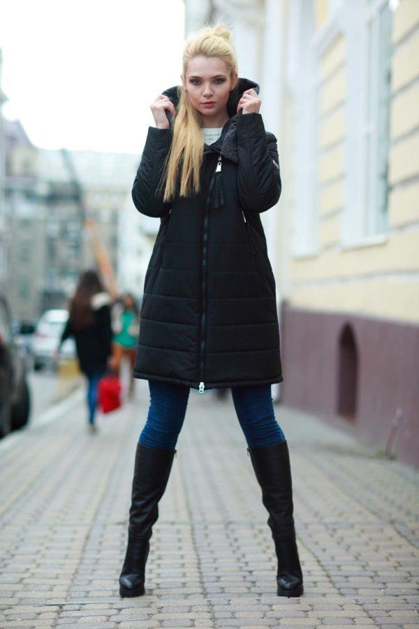 Пальто стьобана Аляска, чорний
