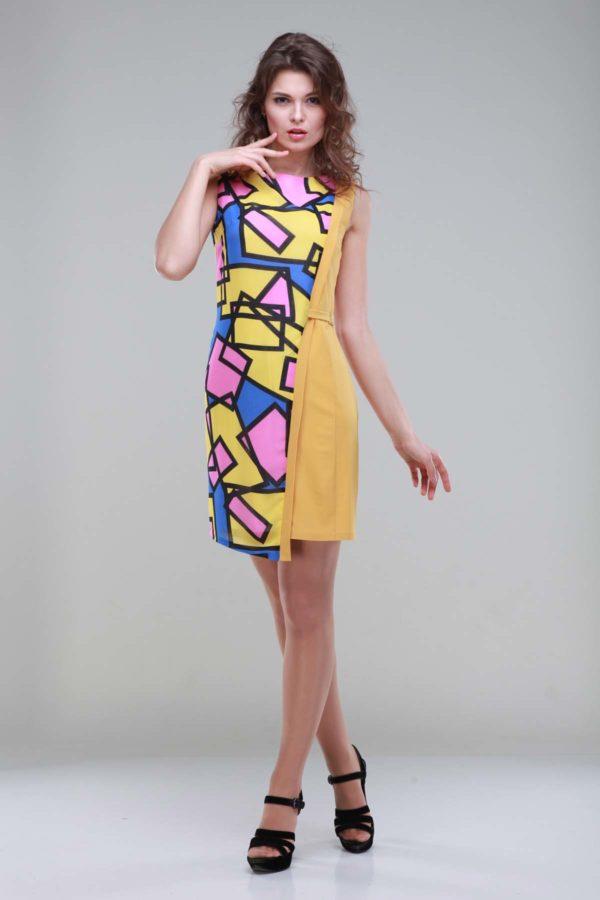 Платье Анжелика, горчица+абстракция, креп-стрейч