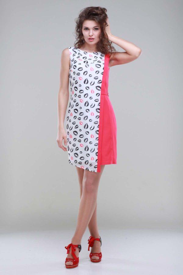 Платье Анжелика, коралл+губки, креп-стрейч