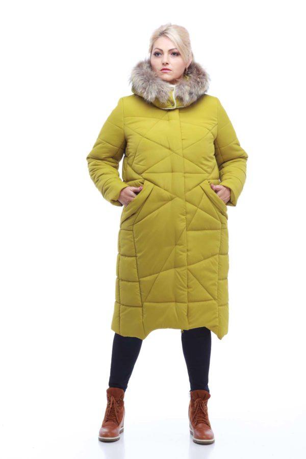 Зимнее пальто Дакота єнот лайм