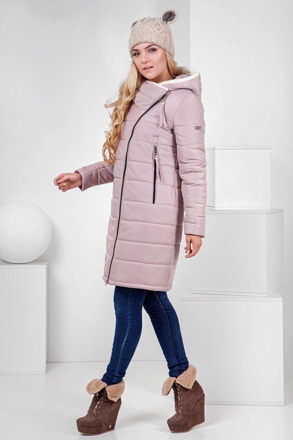 Пальто стеганое Аляска, латте+овчина