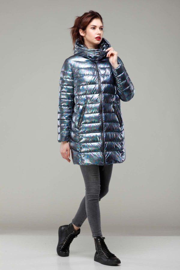 Зимняя куртка Веста Зима, голограмма, темно-синий бензин