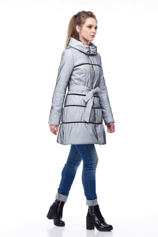 Пальто стеганое Василиса, сетка на плащевке, Пальто стеганое Василиса, нейлон, серый, черный