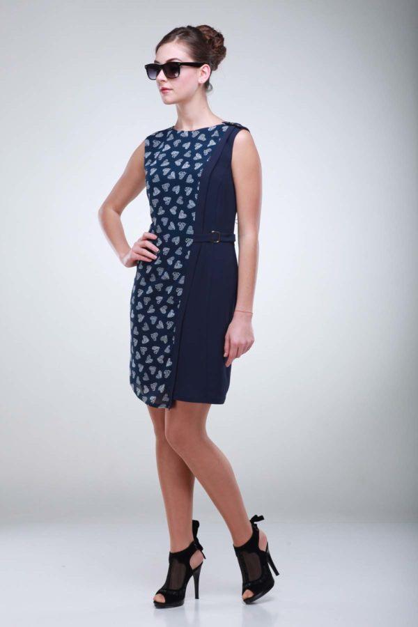 Сукня Анжеліка, креп-стрейч темно-синій серце