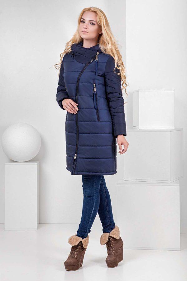 Пальто стьобана Аляска, темно-синій
