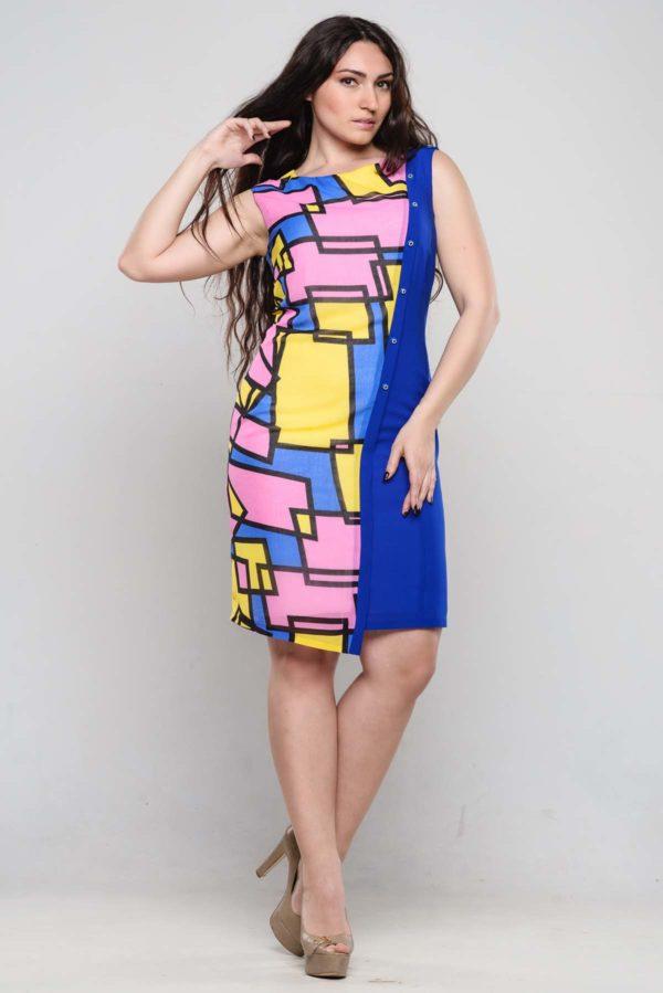 Платье Анжелика, василек+астракция, креп-стрейч