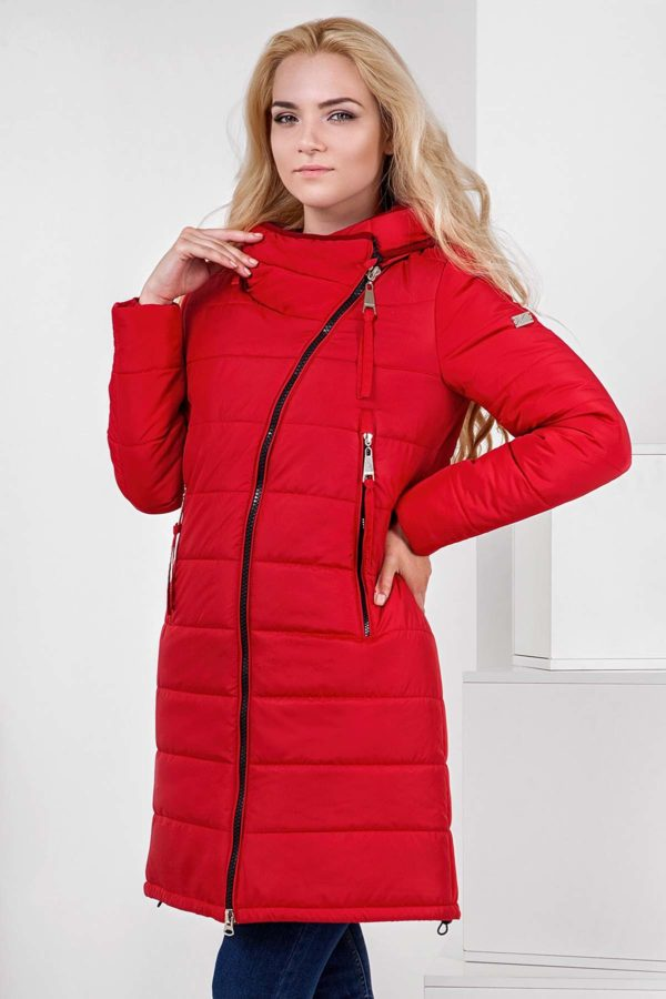 Пальто стьобана Аляска, яскраво-червоний