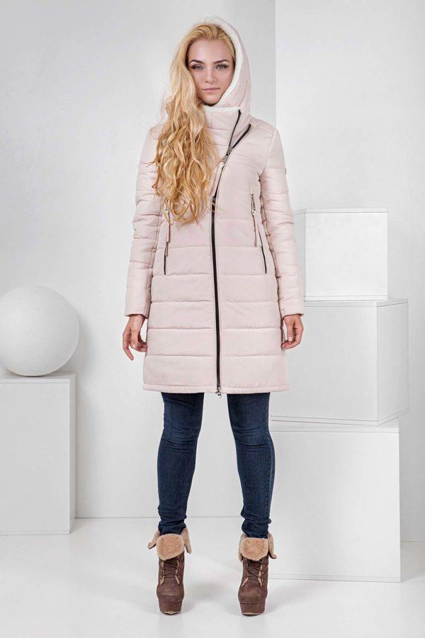 Пальто стеганое Аляска, зефирный+овчина