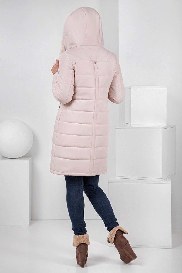 Пальто стьобана Аляска, зефірний + овчина