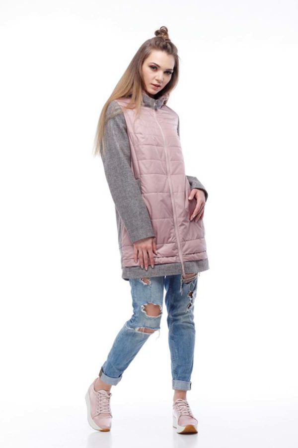 Пальто Эмма пыльная роза+серо-розовый nick ful dal