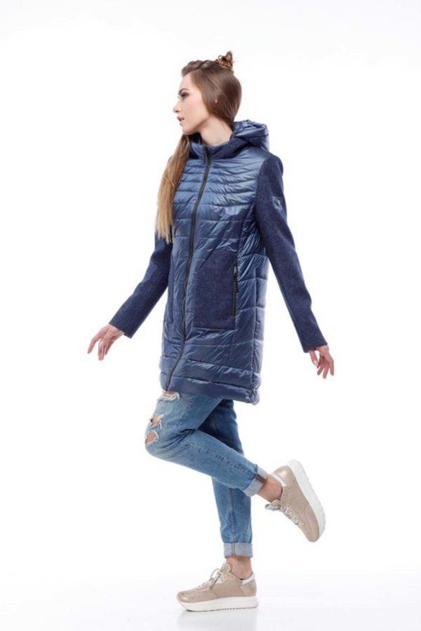 Купить пальто оптом Эрика синий нейлон+ темный джинс nick нейлон